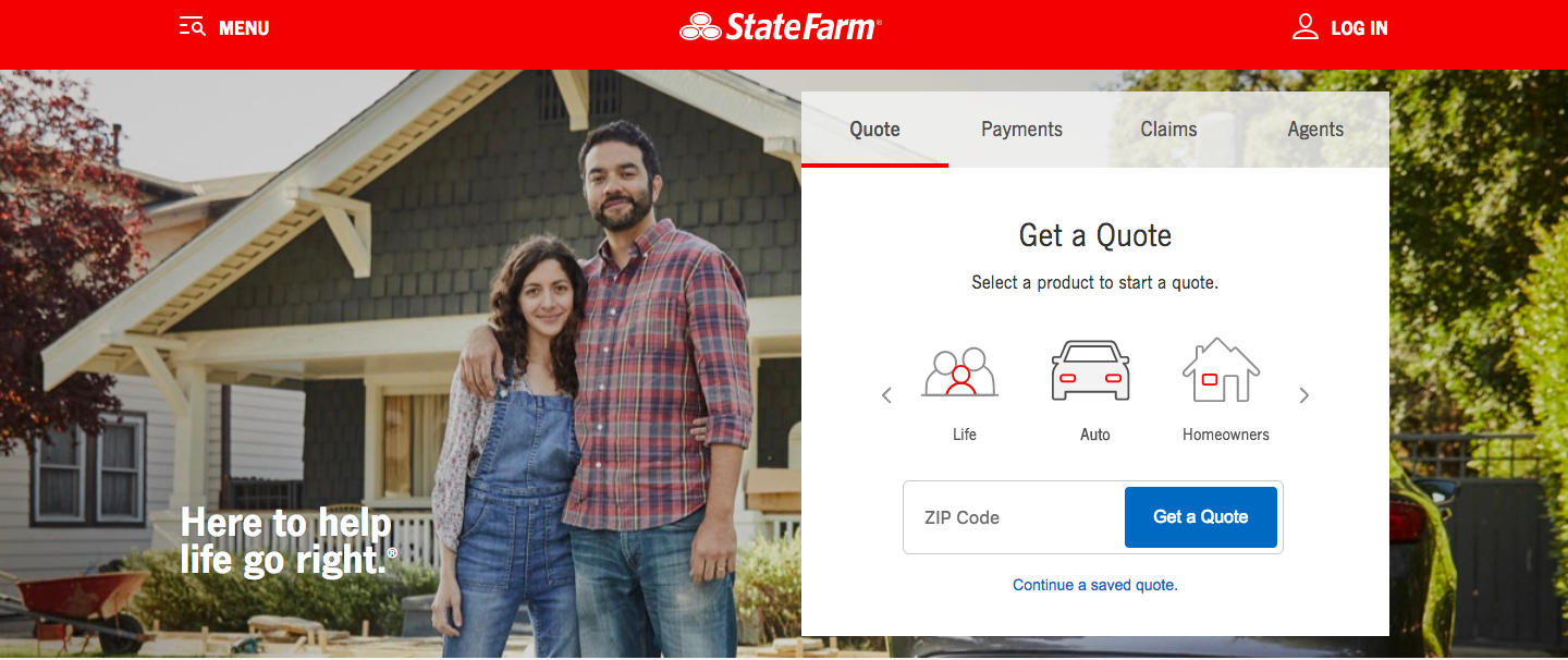 Screenshot of State Farm's website to show simplicity