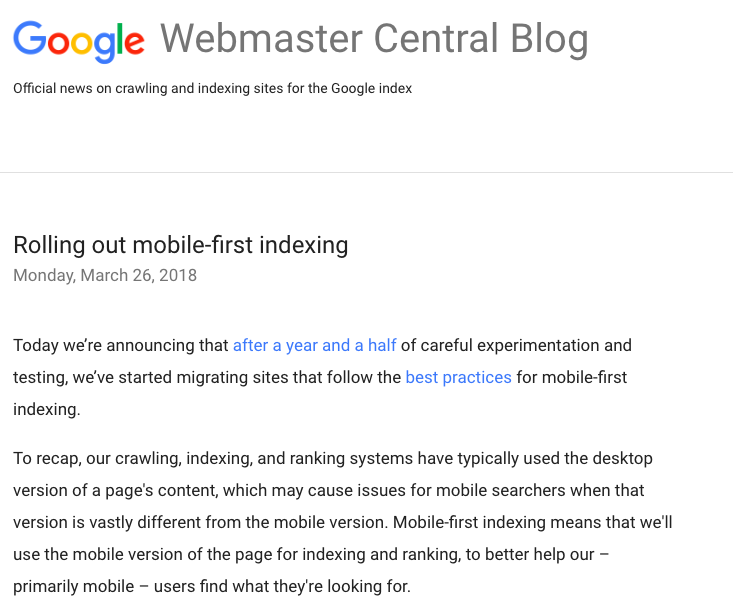 Google Webmaster Central blog post about mobile-first indexing