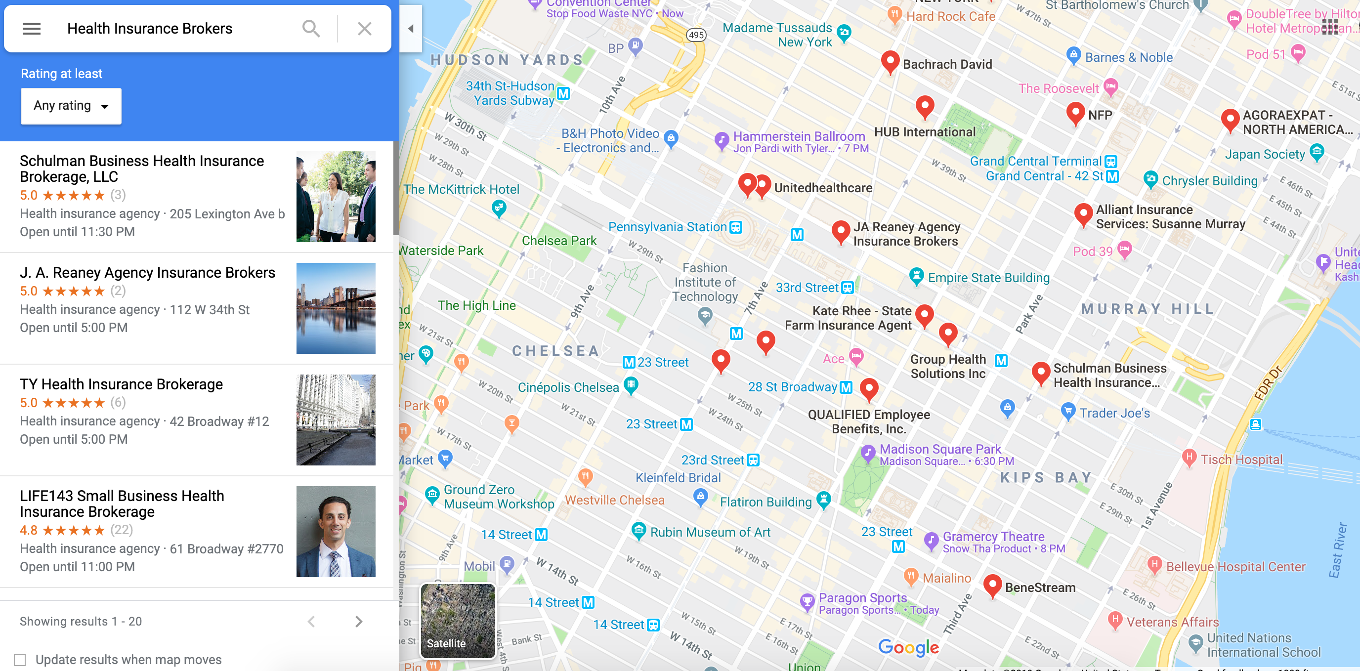 Map result when setting up Google My Business for your insurance agency
