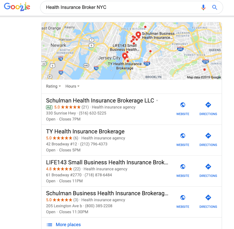 Local 3-pack Google My Business for your insurance agency