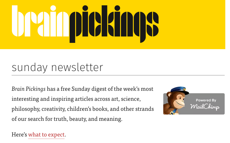 Brain Pickings Newsletter Landing Page
