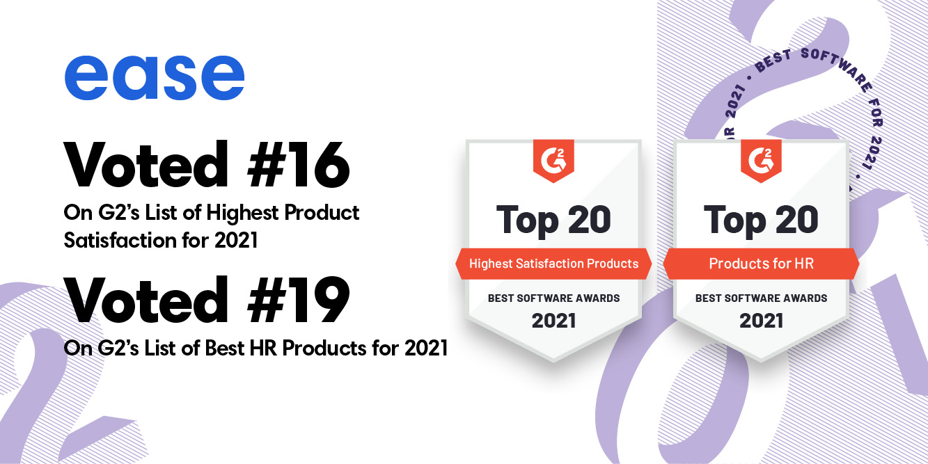 Ease Named in Top 20 List for Two of G2's Best Software Awards