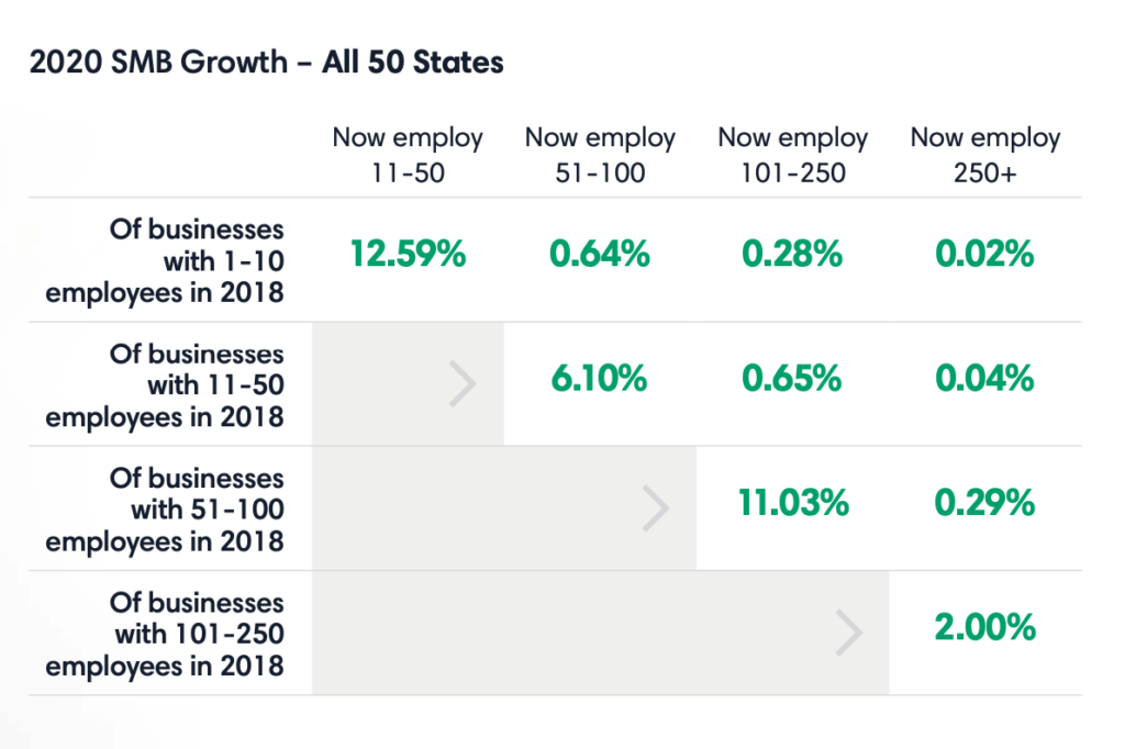 Table with 2020 SMB growth data